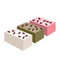 Uiro Mochi or Traditional Japanese Steamed Cake vector image