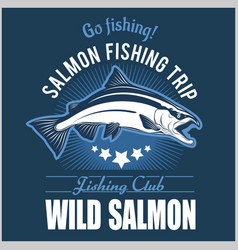vintage salmon fishing emblem label and design vector image