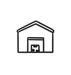 Warehouse sketch icon vector