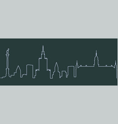 warsaw single line skyline vector image