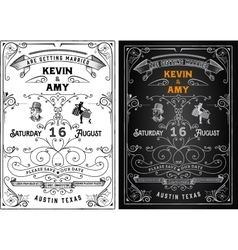 Wedding invitation vintage card Freehand vector