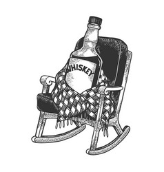 whiskey in rocking chair sketch engraving vector image