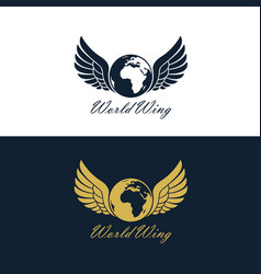 winged earth icon set vector image