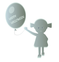 with a friendly ghost girl and a balloon vector image