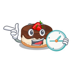 With clock cake berries in character that fresh vector