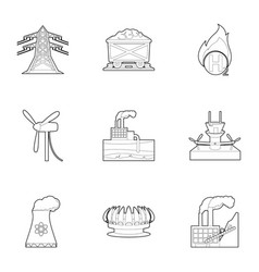World resource icons set outline style vector