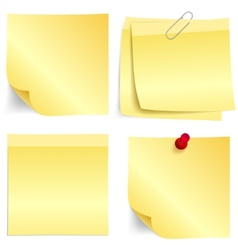 Yellow paper note set vector