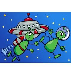 aliens in space cartoon vector image
