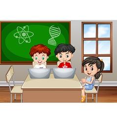 Children working in classroom vector image vector image