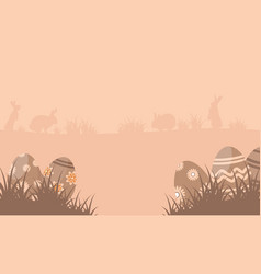 Silhouette of bunny with easter egg landscape vector