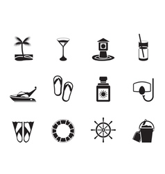 Silhouette Sea and holiday icons vector image vector image