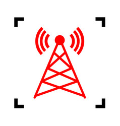 antenna sign red icon inside vector image