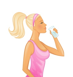 drinking woman vector image