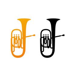 golden icon of tuba vector image vector image