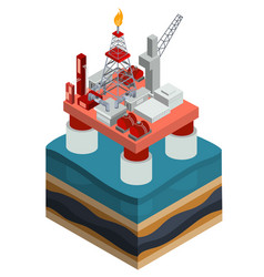 Isometric oil producing offshore platform vector