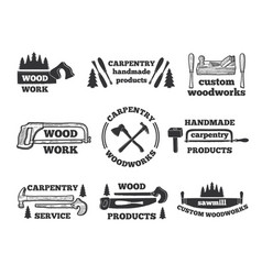 labels for woodworking shop monochrome vector image vector image