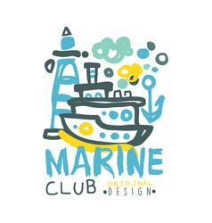 marine club logo design summer travel and sport vector image vector image