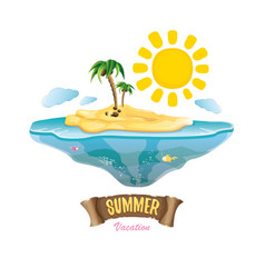 summer label with island tropical beach vector image vector image
