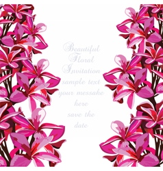 Watercolor Pink Tropical flowers card vector image