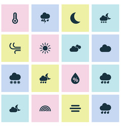 Air icons set collection of nightly rainy snowy vector