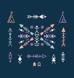 aztec ethnic ornament elements vector image