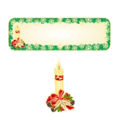 Banner Christmas Spruce with candle and pine cone vector image vector image