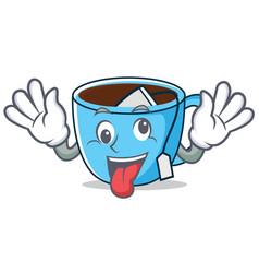 Crazy tea cup mascot cartoon vector