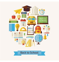 Flat Style Back to School and Education Objects vector image