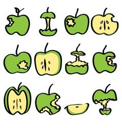 green bitten apple vector image vector image