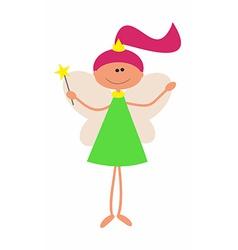 Little Cute Fairy with Magic Wand arniva vector image