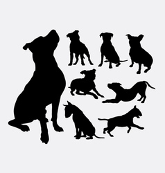 Pitbull bulldog terrier dog animal silhouettes vector image