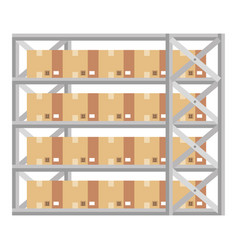 shelving warehouse with boxes vector image