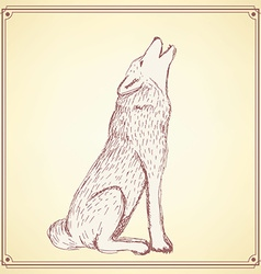 Sketch howling wolf in vintage style vector image vector image