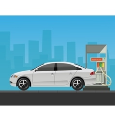 Gas station with car in city background vector image