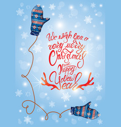 greeting card with cute blue knitted mitten pair vector image