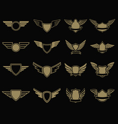 set of winged emblems in golden style design vector image