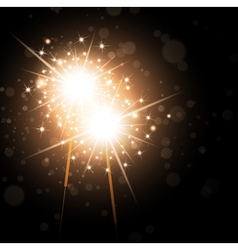 Sparklers Over Night Background vector image vector image
