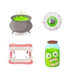 Witch cauldron and symbols vector