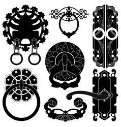 a set silhouette showing door handle design a vector image