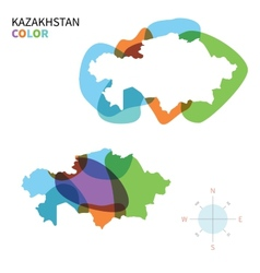 Abstract color map of Kazakhstan vector image