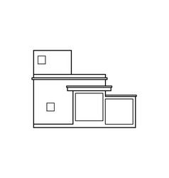 Abstract outline drawing modern house or building vector
