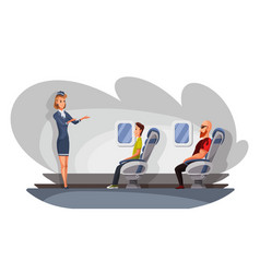 Airplane crew and passenger characters in plane vector