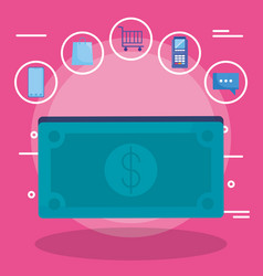 bills dollars money with set icons vector image