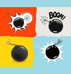 Bomb ready to explode icon bombshell comic vector