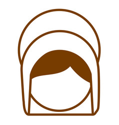 Brown silhouette of faceless head of saint virgin vector