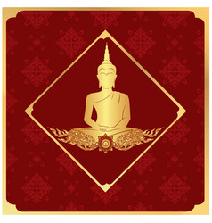 Buddha statue frame thai design red background vec vector