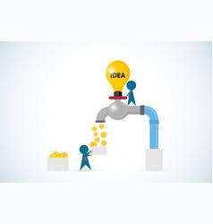 businessman open lightbulb faucet to gain coins vector image