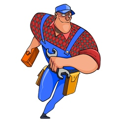 cartoon plumber man with tools on the run vector image