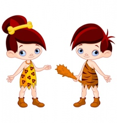 Cave boy and cave girl vector