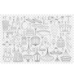 chandeliers for home decoration doodle set vector image